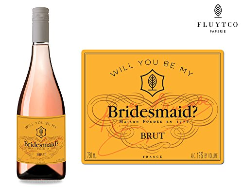 Will You Be My? - Set of 8 French Champagne Wedding Wine Bottle Labels - Bridesmaid & Maid of Honor Proposal Gift - Engagement Party - Bridal (French Maid Party)