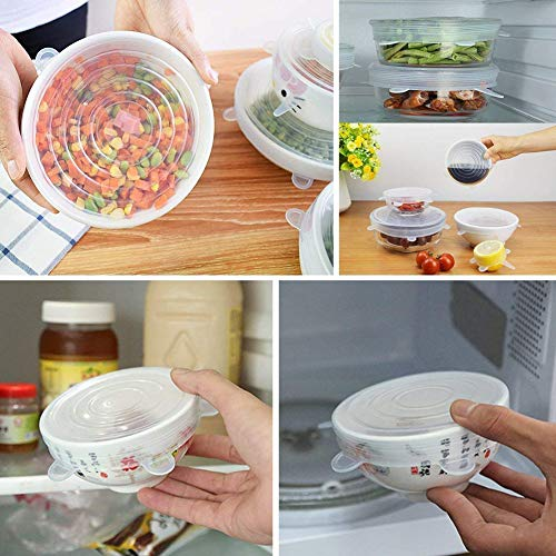 Food Grade Easy to Clean Reusable Silicone Stretch Lids (12, Transparent and Blue) by WDWYW (Image #3)'