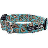 Pepperoni Pizza Collar for Pets Size Medium 3/4 Inch Wide and 13-20 Inches Long - Hand Made Dog Collar by Oh My Paw'd