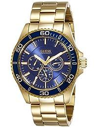 Guess Men's CHASER 44mm Gold-Tone Steel Bracelet & Case Quartz Blue Dial Analog Watch W0172G5