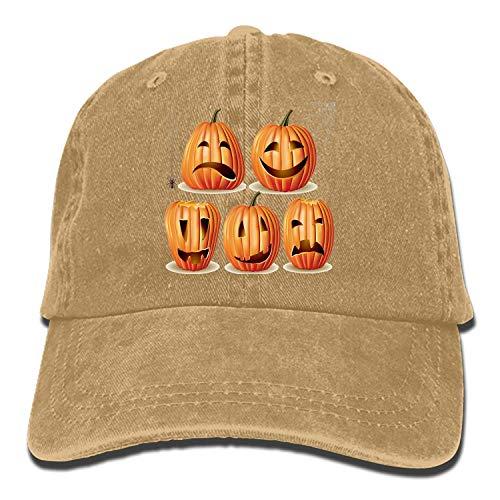 Timetowakeup Men Women Camp Hair Halloween-Pumpkin-Set Cotton Denim Baseball Hat Adjustable Street Rapper Hat Halloween-Pumpkin-set3 ()