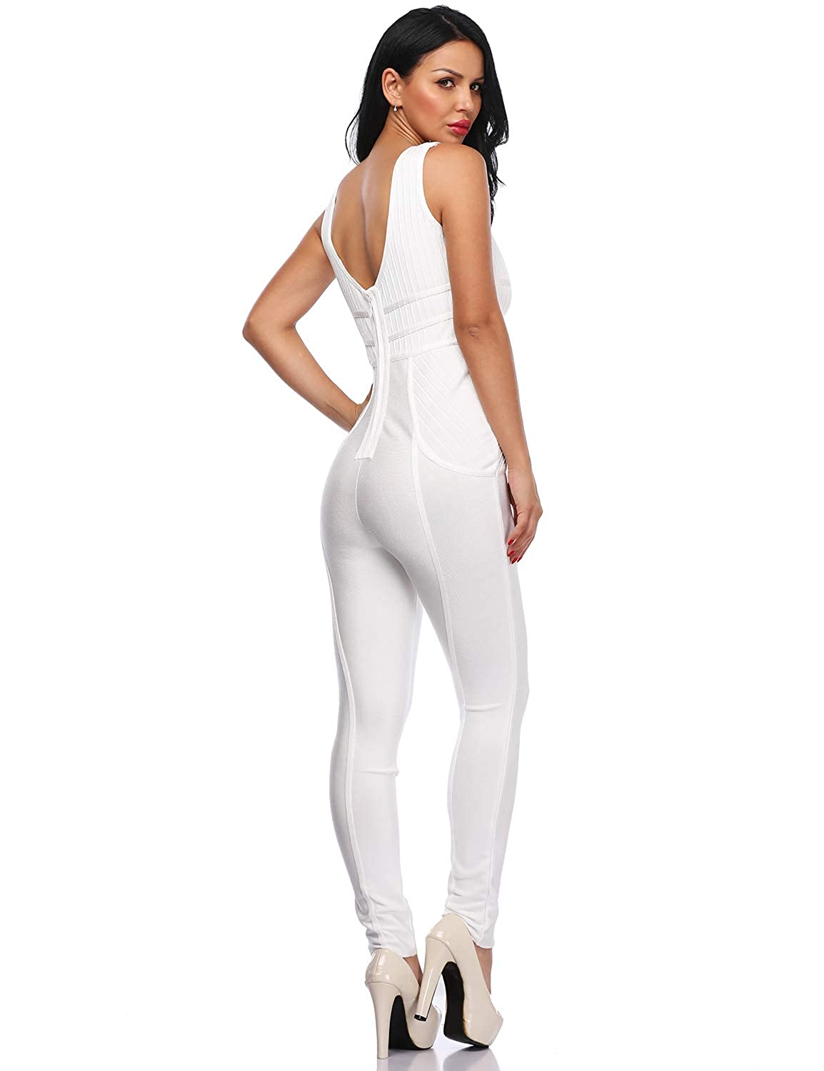 debd6a62fbcc Amazon.com  Hego Women s White Bandage Club Night Out Jumpsuits Deep V Neck  Cut Out H5598  Clothing