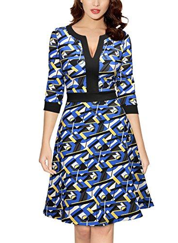 Miusol Women's Formal Optical Illusion Retro Business A-Line Dress,Blue,Small