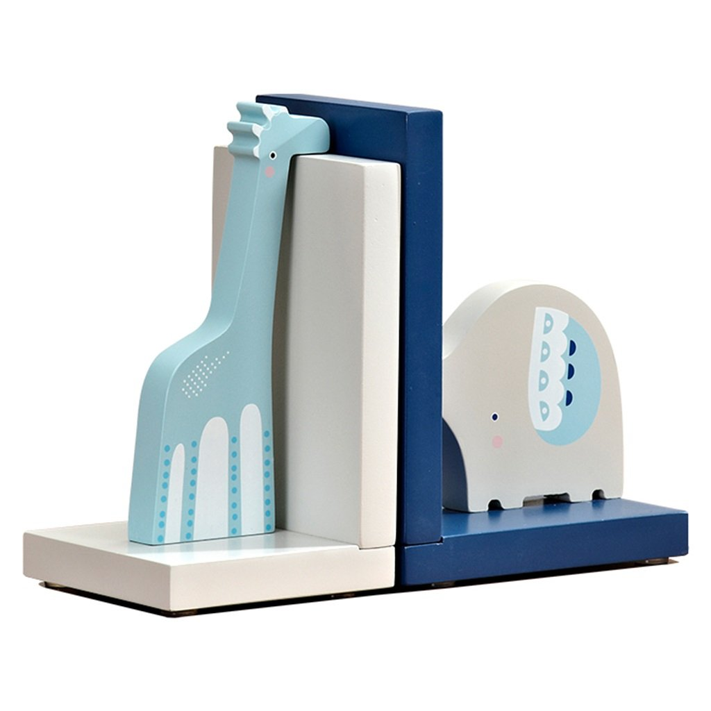 Bookends bookshelf desktop storage bookends cartoon children's room desk decoration bookshelf office book shelf bookends (Color : Blue and white)