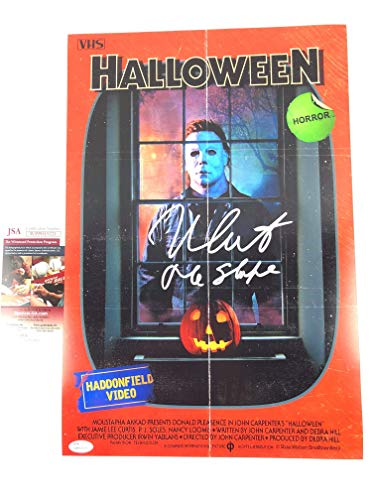 Nick Castle Signed 12x18 Poster Halloween The Shape Michael Myers VHS Cover JSA]()