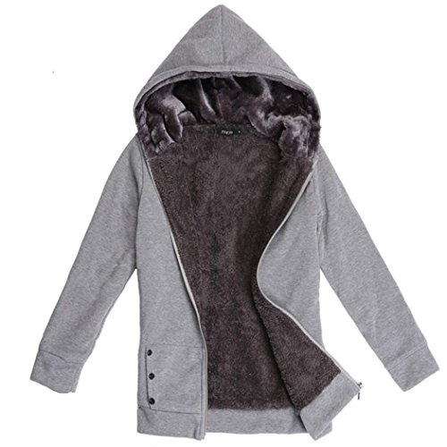 Cravog À Fleece D'hiver Sweat Veste Faux Chaud Manteau Epaissir Gris Femmes Tops Capuche Fur 1rqZz1pw