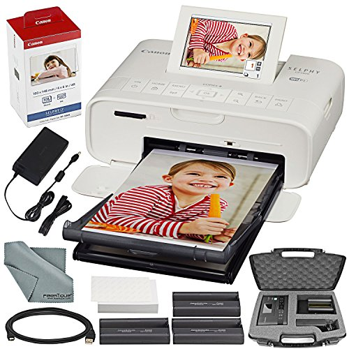Canon SELPHY CP1300 Compact Photo Printer (White) with WiFi and Accessory Bundle w/Canon Color Ink and Paper Set + Case + More