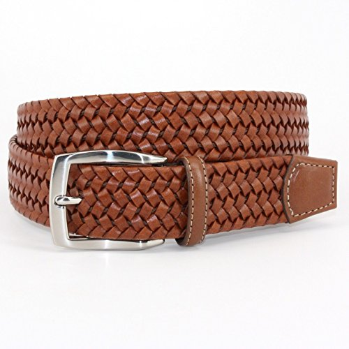 Torino Leather Co. Men's 35mm Italian Woven Stretch Leather Cognac 42