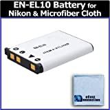 EN-EL10 Long Life Battery for Nikon Cameras and Camcorders: S60, S80, S200, S205, S210, S210, S220, S230, S500, S510, S520, S570, S600, S700, S3000, 3100, S3000, S4000, S5100 + eCostConnection Microfiber Cloth