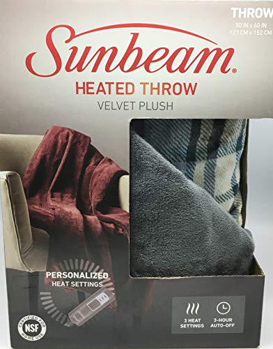 Sunbeam Velvet Soft Plush Electric Heated Throw Blanket Size: 50 x 60 3 Heat Setting Remote Control Auto Off (Grey Plaid)