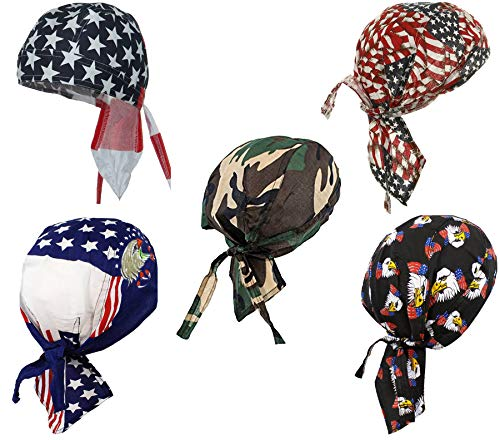 Buy Caps and Hats Doo Rag American Flag Cotton Caps One Size Mens Black