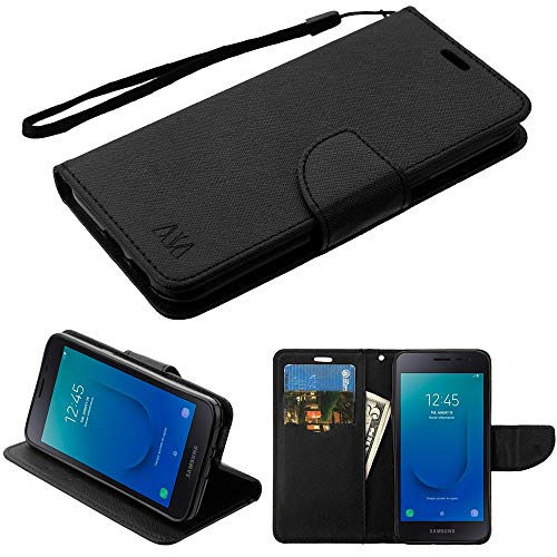 Luckiefind Case Compatible with Samsung Galaxy J2 Core / J260 (Release 2018), Premium PU Leather Flip Wallet Credit Card Cover Case Accessories (Wallet Black)