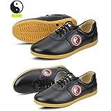 WUYIN Top Leather Tai Chi shoes Tai Chi Martial Arts Shoes Kung fu Tai Chi trainning shoes Martial arts Kung fu boxing shoes (For small size 34/35, please e-mail E-mail)