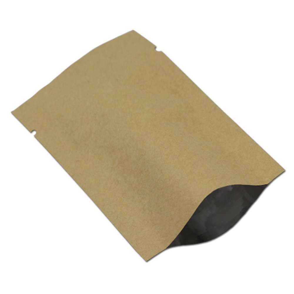800Pcs 8 x 12cm (3.1 x 4.7) Vintage Brown Kraft Paper Heat Seal Aluminium Foil Bag Vacuum Pouches Retail Package Food Storage Packaging Bags for Coffee Nuts Tea Snack Sugar Cookie Gift Candy Packing Open Top WACCOMT Pack