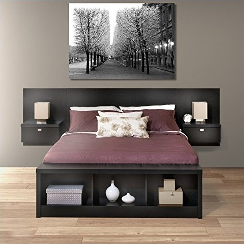 Prepac Series 9 Platform Storage Bed With Floating Headboard In Black    King, Bench Not Included