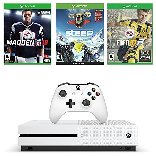 51emExSx4pL - Microsoft Xbox One S Sports Deluxe Game Bundle : Microsoft Xbox One S 500 GB - Robot White, Madden NFL 18, FIFA 17 and Steep Game Disc