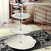 YMOON 3 Tier Stainless steel Round Cupcake Stand Wedding Birthday Cake Display Tower Without Plants
