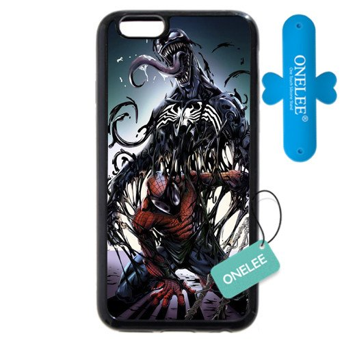 """Onelee Customized Marvel Series Case for iPhone 6+ Plus 5.5"""", Marvel Comic Hero Spider Man Logo iPhone 6 Plus 5.5"""" Case, Only Fit for Apple iPhone 6 Plus 5.5"""" (Black Soft Rubber)"""