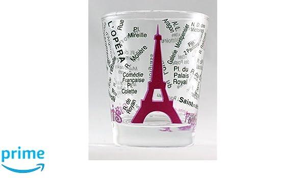 Amazon Com Paris France Eiffel Tower And Map Pink Shot Glass Bar
