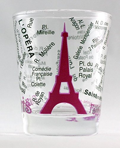 - Paris France Eiffel Tower and Map Pink Shot Glass