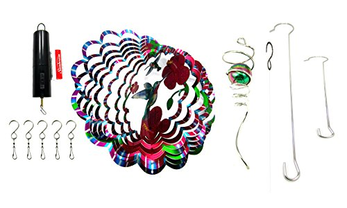 WorldaWhirl Whirligig 3D Wind Spinner Hand Painted Stainless Steel Twister Hummingbird (12'' Inch Bundle, Multi Color Rainbow) by WorldaWhirl
