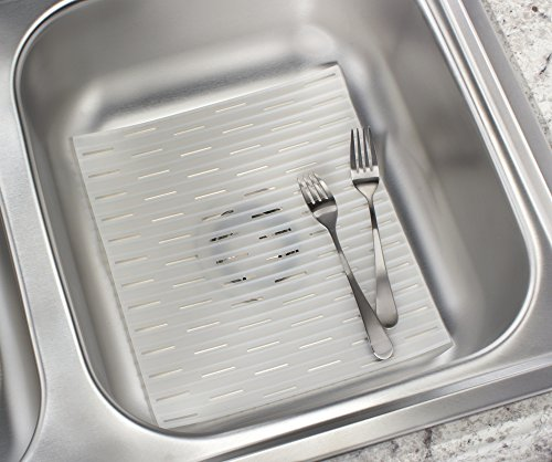UPC 841247118444, mDesign Silicone Kitchen Sink Protector Mat - Regular, Clear