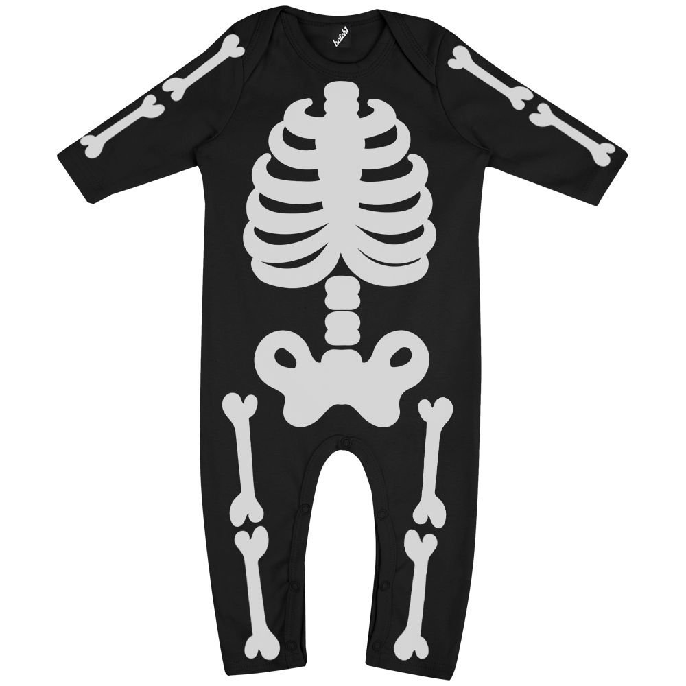 Batch1 Skeleton Full Body Print Novelty Halloween Fancy Dress Long Sleeve Babygrow