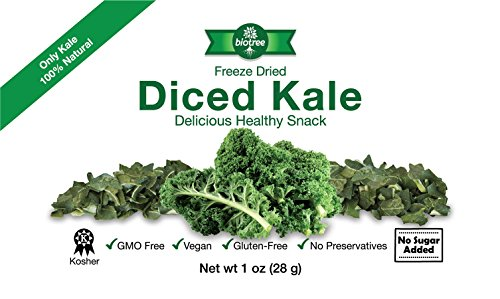 Biotree Naturals Crunchy Delicious Kale - All Natural Freeze Dried Diced Kale Snack: No Added Sugar or Preservatives Paleo Gluten-Free Healthy Snack for Children & Adults Add to Sauces (Freeze Dried Diced)