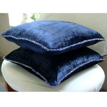 Designer Navy Blue Shams, Solid Color Beaded Cord Pillow Shams, 24