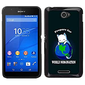 Impact Case Cover with Art Pattern Designs FOR Sony Xperia E4 World Planet Earth Cat Ruler White King Anime Betty shop