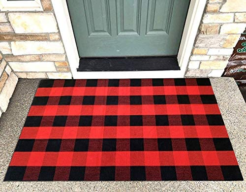 Levinis Large Buffalo Check Rug 3 5 for Double Door, Perfect Size for Layered Door Mats, Customized Size for Hello Welcome Doormat