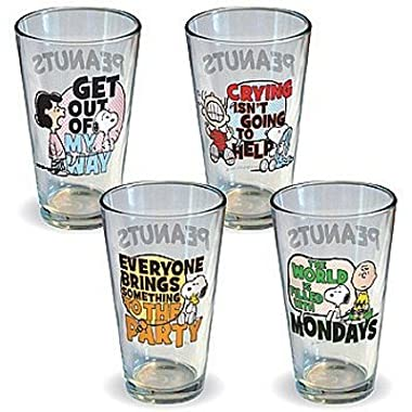 Peanuts Quotes Drinking Glasses Set of 4