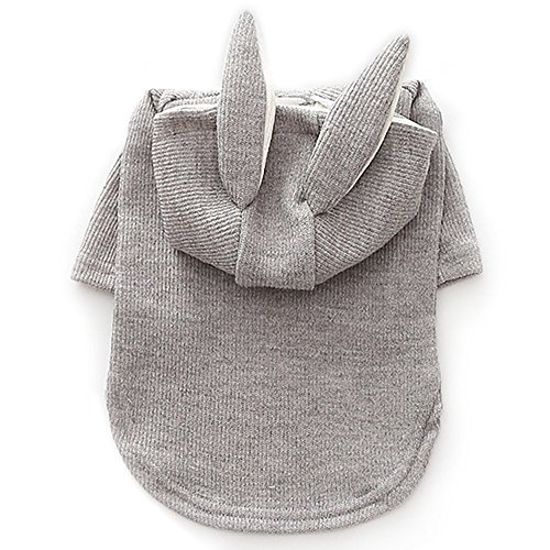 Bunny Rabbit Costumes for Dogs & Cats party Costume Hoodies 2 Legs Pet Clothes Winter Sweatshirt Warm Sweater (XXL, Gray (Cat Bunny Costume)