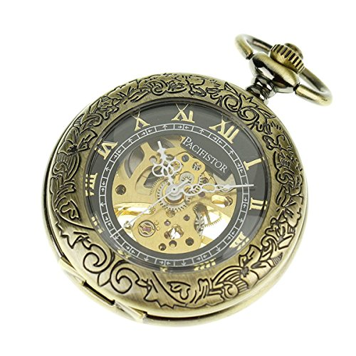 PACIFISTOR Gentleman's Hand Wind Up Skeleton Mechanical Brass Analog Pocket Watch with Fob Chain (Costume Pocket Watch)