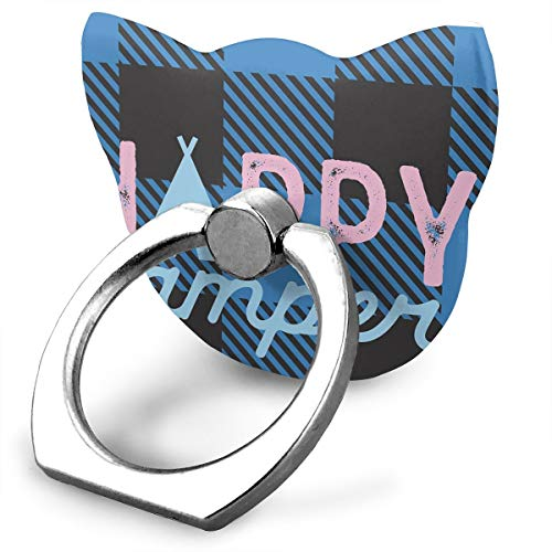 Karen Felix Cat Style Cell Phone Ring Stand Holder Happy Camper 360¡ãRotation Or 180¡ã Folding Plastic Mobile Phone Ring Stent ()