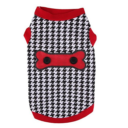 Zunea Classic Houndstooth Dog Summer Tank Top Vest T-Shirts Cotton Soft Female Male Pet Clothes,for Small Dog Cat L