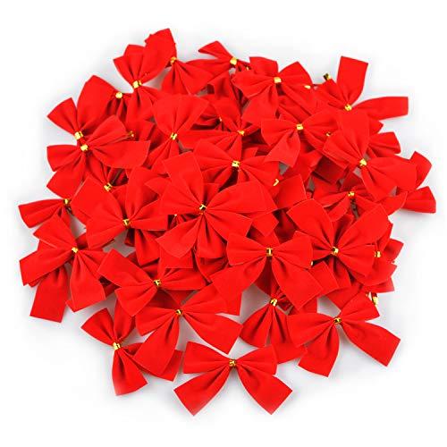 Turelifes 60pcs Christmas Tree Bows Mini Red Velvet Bowknot 2.5'' Xmas Tree Ornaments Party Gift DIY décor