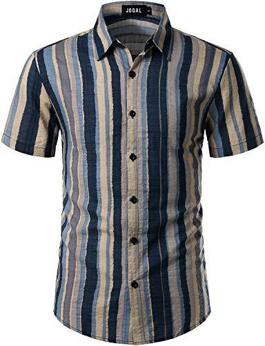 JOGAL Men's Vertical Striped Short Sleeve Button Down Shirts XX-Large BlueBeige