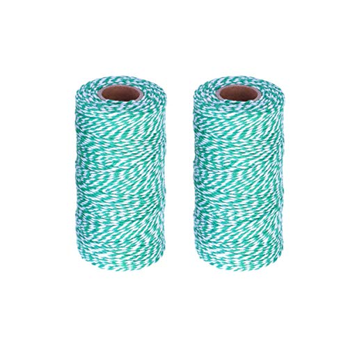 Artibetter 2pcs Christmas Twine String, Green and White Bakers Twine for Baking, Butchers, Crafts and Christmas Gift Wrapping