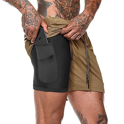 DUOFIER Men's 2-in-1 Running Shorts Workout Training Short with Inner Compression Short and Zip Pocket (Khaki, 3XL) ()