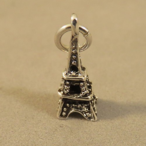 Sterling Silver 3-D Tiny EIFFEL TOWER CHARM Pendant Paris NEW 925 TR90 Jewelry Making Supply Pendant Bracelet DIY Crafting by Wholesale Charms
