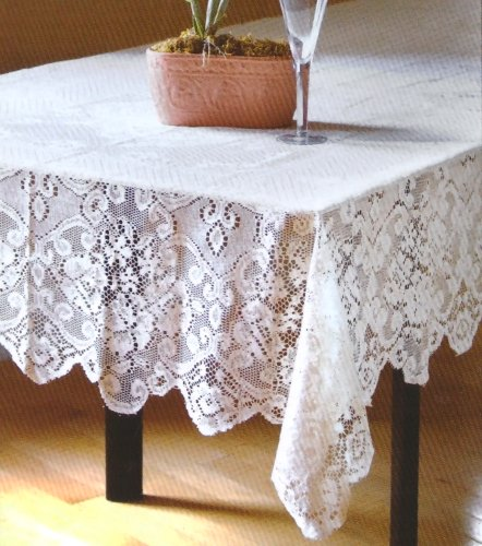 Table Sense Lace Fabric Tablecloth in White, 52x70 Oblong (Rectangle)