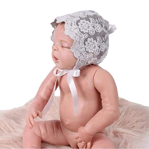 9f6db5032 Swovo Baby Girls Bonnet Lace Floral Sun Hat with Ribbon Tie Beanie Cap  0-18M 1PC