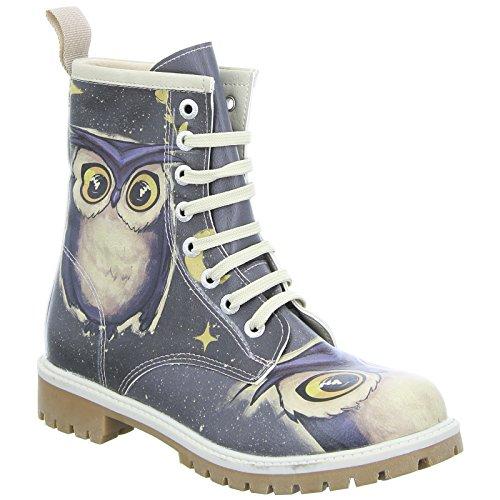 Dogo Owls Family (Long Bootz) Damen Stiefel Allover-Print Eule Schnürer Bunt (Mehrfarbig)