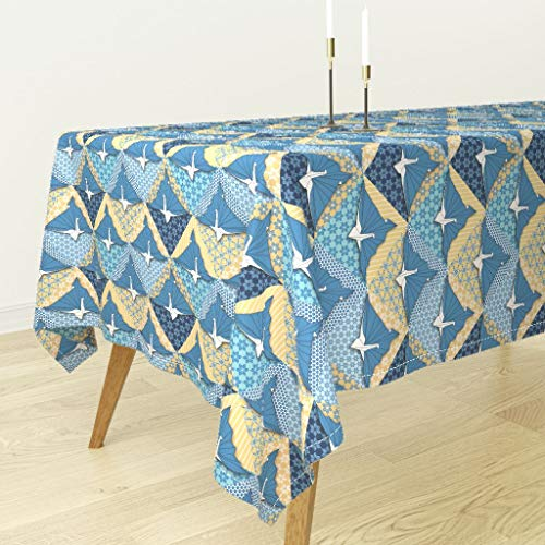 Roostery Tablecloth - Origami Japanese Origami Crane Origami Bird Origami Peacock Origami Paper Paper by Glitterstreet - Cotton Sateen Tablecloth 70 x 90 from Roostery