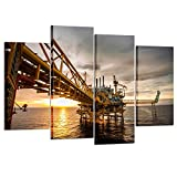 Kreative Arts - 4 Pieces Canvas Prints Wall Art Offshore Oil and Rig Platform in Sunset Power Energy of the World Sea Picture Modern Home Decor Stretched and Framed Ready to Hang for Office