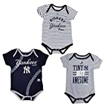 New York Yankees Navy Gray White Stripe Infants 3 Piece Creeper Set