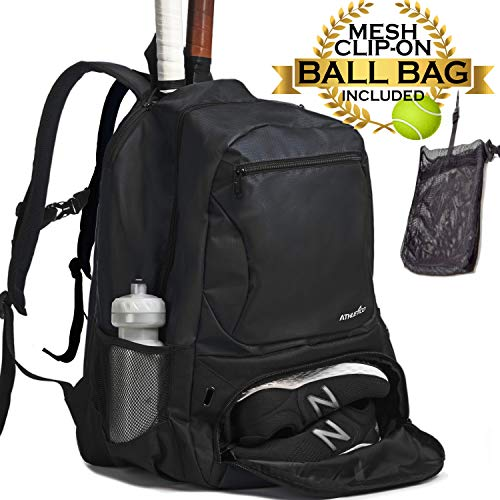 Athletico Premier Tennis Backpack - Tennis Bag Holds 2 Rackets in Padded Compartment | Separate Ventilated Shoe Compartment | Tennis Bags for Men or Women ()