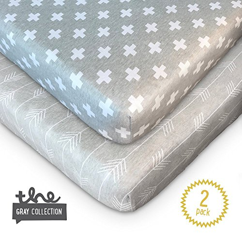 Crib Sheets - 2 Pack Set of Fitted Premium Soft 100% Jersey Cotton Knit Sheets for Baby Boy, Girl or Toddler by tinypattern - Gray and White Arrows and Crosses (Knit Collection Cuddly)