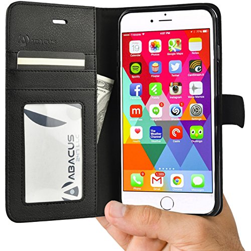 Black Folding Case (Abacus24-7 iPhone 6 and 6S Case, Wallet with RFID Blocking Flip Cover, Black)
